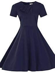 Feminino Bainha Vestido,Formal / Tamanhos Grandes Sofisticado Sólido Decote Redondo Altura dos Joelhos Manga Curta Azul / Vermelho / Roxo