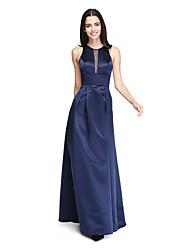 2017 לנטינג סאטן באורך הרצפה bride® לראות דרך שמלת השושבינה - תכשיט א-קו עם אבנט / סרט