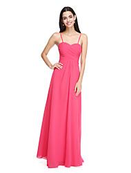 2017 lanting bride® zemin uzunlukta şifon şık nedime elbisesi - criss çapraz spagetti kayışlar