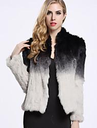 Feminino Casaco de Pelo Casual Simples Inverno,Color Block Preto Pêlo de CoelhoManga Longa