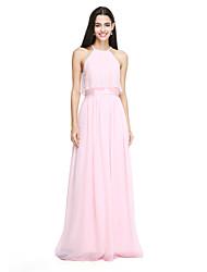 2017 lanting bride® zemin uzunlukta şifon / dantel zarif nedime elbisesi - dantel kılıf / sütun mücevher