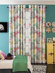 Jeden panel Window Léčba Designové , Květiny Obývací pokoj Polyester Materiál záclony závěsy Home dekorace For Okno
