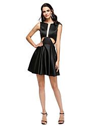 2017 ts couture® prom Cocktailparty Kleid a-line Juwel kurz / Mini-Stretch-Satin mit Falten