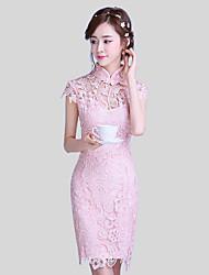 Curto/Mini Renda Elegante Vestido de Madrinha - Tubinho Gola Alta com Renda