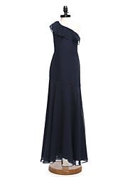 2017 Lanting Bride® Floor-length Chiffon Junior Bridesmaid Dress A-line One Shoulder with Ruffles