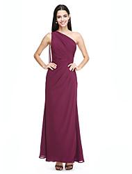 2017 lanting bride® Watteau Tren şifon zarif nedime elbisesi - yan draping ile tek omuz