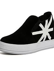 נשים-נעליים ללא שרוכים-סוויד-פלטפורמה-שחור אדום אפור-יומיומי-עקב וודג' פלטפורמה