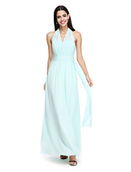 2017 Lanting bride® tornozelo de comprimento chiffon vestido de dama elegante - halter com faixa