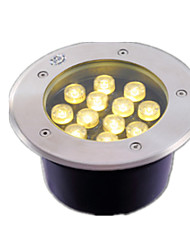 (Branco quente 12w) circular levaram luzes de aço inoxidável à prova de água enterrados
