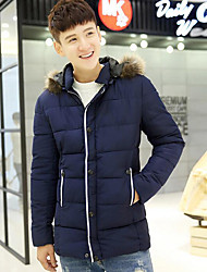 Men's Casual/Daily Simple Coat,Solid Long Sleeve Winter Blue / Black / Green Polyester