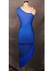 Latin Dance Dresses Women's Performance / Training Spandex  1 Pieces Halloween Blue