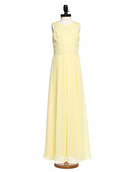 2017 lanting bride® vloer lengte chiffon / kanten junior bruidsmeisje jurk schede / kolom juweel met plooien