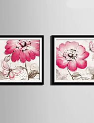 Květiny a rostliny / Hayvanlı Kanvas v rámu / Set v rámu Wall Art,PVC Materiál Černá Včetně pasparty s rámem For Home dekorace rám Art