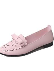 נשים-נעליים ללא שרוכים-PU-נוחות-שחור / ורוד / לבן-קז'ואל-עקב שטוח