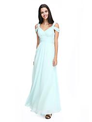 2017 Lanting bride® tornozelo de comprimento chiffon vestido de dama elegante - tiras uma linha com cruz criss