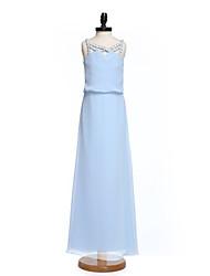 2017 lanting bride® vloer-length chiffon junior bruidsmeisje jurk schede / kolom banden met kristallen detaillering
