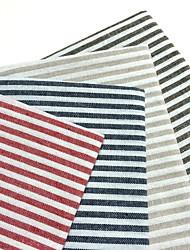 Carré Rayé Sets de table / Serviettes , Mélange Lin/Coton Matériel Tableau Dceoration 4