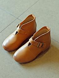 Boty-Koženka-Platformy-Dívčí-Černá Hnědá-Běžné-Plochá podrážka