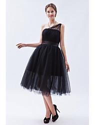 Longuette Tule Vestidinho Preto Vestido de Madrinha - Linha A Mula Manca com Faixa / Fita