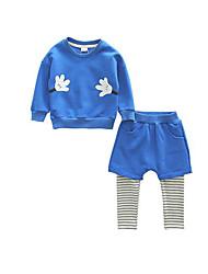 Menino de Moletom com Capuz & Abrigo / Calças / Conjunto,Casual Estampado Algodão Primavera / Outono Azul / Cinza