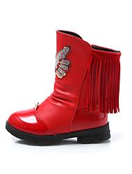 לבנות-מגפיים-PU-נוחות-שחור ורוד אדום-שמלה יומיומי-עקב שטוח