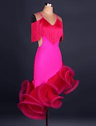Latin Dance Dresses Women's Performance Polyester Organza Crystals Rhinestones Pleated Latin Dance Long Sleeve High