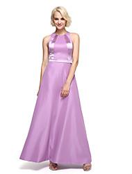 2017 לנטינג bride® שמלת השושבינה באורך קרסול טפטה צבע בלוק - תכשיט א-קו עם אבנט / סרט