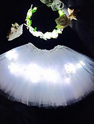 White Angel Led Light Up Tutu &Headband Set For KidsGirlsAdultsHalloween CoustumeChristmas GiftRave Tutu SetCoachella