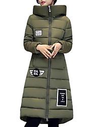 Dámské Dlouhé S vycpávkou Jednoduché Jdeme ven / Běžné/Denní / Velké velikosti Písmeno-Kabát Polyester Polyester Dlouhý rukáv Kapuce