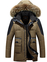 Men's Regular Down Coat,Simple Casual/Daily Solid-Polyester White Duck Down Long Sleeve Hooded Blue / Red / Black / Brown