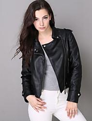 אחיד / אותיות צווארון חולצה סגנון רחוב יום יומי\קז'ואל ז'קטים מעור נשים,שחור שרוול ארוך סתיו / חורף בינוני (מדיום) פוליאוריתן