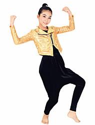 ג'אז תלבושות ביצועים ספנדקס / פוליאסטר כיסים 4 חלקים שרוול ארוך נפול מעיל / מכנסיים / גומיות / עליון As the measurement chart