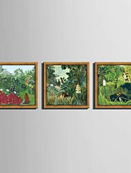 Květiny a rostliny Kanvas v rámu / Set v rámu Wall Art,PVC Materiál Zlatá Bez pasparty s rámem For Home dekorace rám Art