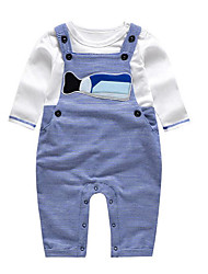 Baby Casual/Daily Striped Clothing Set-Cotton-Spring / Fall-Blue