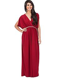 Feminino Bainha Vestido,Casual / Tamanhos Grandes Sensual / Simples Sólido Decote V Longo Sem Manga Azul / Vermelho / Preto / Verde