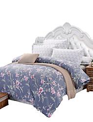 פרחוני סטי שמיכה 4 חלקים כותנה דוגמא הדפסה תגובתית כותנה קווין כיסוי שמיכת יחידה 1 / כריות מיטה 2 יחידות / סדין יחידה 1