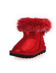לבנות-מגפיים-PU-נוחות-ורוד אדום-שמלה יומיומי-עקב שטוח