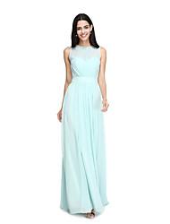 2017 Lanting bride® podlahy Délka šifónové družička elegantní šaty - a-linie šperk s křídlem