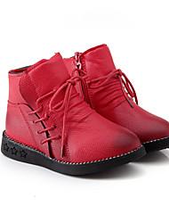 לבנות-מגפיים-PU-נוחות-שחור / אדום-קז'ואל