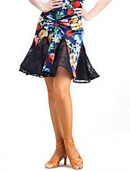 ריקוד לטיני חצאיות טוטו וחצאיות ביצועים תחרה / קטיפה תחרה חלק 1 טבעי חצאית M:50cm-51cm L:50cm-51cm XL:50cm-51cm