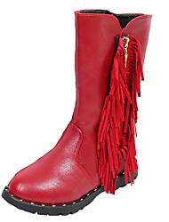 לבנות-מגפיים-PU-נוחות-שחור אדום בורגונדי-שמלה יומיומי-עקב שטוח