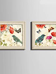 Animal Quadros Emoldurados / Conjunto Emoldurado Wall Art,PVC Material Vermelho Sem Cartolina de Passepartout com frame For Decoração