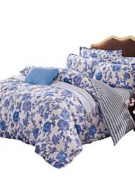 Květinový Povlečení 4 kusy Polyester Vzor Reaktivní barviva Polyester Twin / Full / Queen / King4 ks (1 x povlak na přikrývku, 1 x