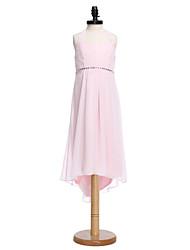 2017 Lanting bride® asymetrické šifon junior družička šaty plášť / sloupec ohlávka s obruby / uklonit (y)