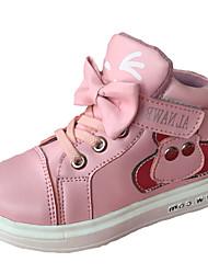 Boty-PU-Pohodlné-Dívčí-Černá / Růžová / Červená-Běžné-Plochá podrážka