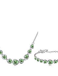Conjunto de Jóias Cristal Moda Branco Rosa Verde Azul marinho Arco-Íris Colares Bracelete Para Diário 1 Conjunto Presentes de casamento