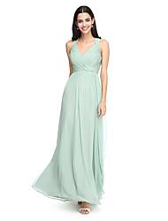 2017 לנטינג שיפון באורך הרצפה bride® שמלת השושבינה אלגנטי - א-קו רצועות עם שתי וערב
