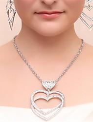 Sets nupcial Jóias Imitação de Pérola Imitação de Diamante Caixas de presente e Bolsas Prata Colares Brincos Anéis Jóias para o Cabelo