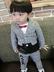 Boy's Casual/Daily Check Suit & BlazerCotton Fall Gray