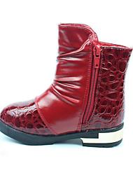 לבנות-מגפיים-PU-נוחות-שחור אדום לבן-שמלה יומיומי-עקב שטוח
